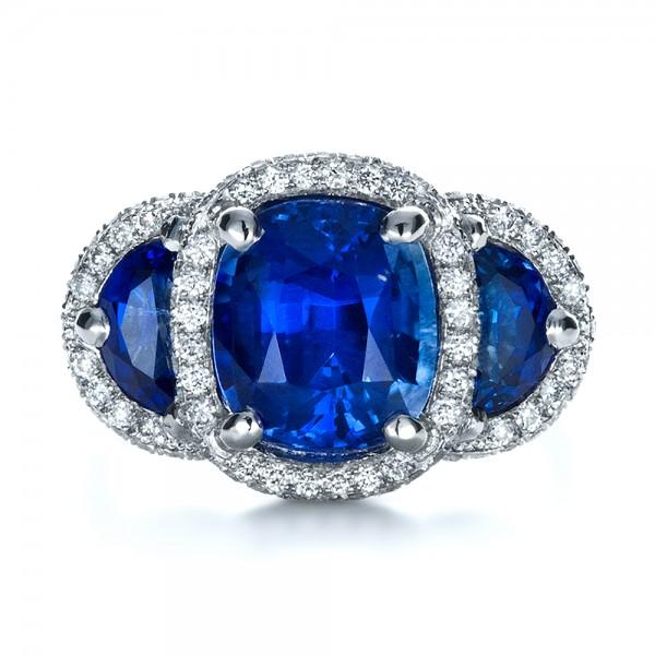 Custom Diamond And Blue Sapphire Engagement Ring 1405