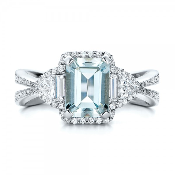 Custom Aquamarine And Diamond Halo Engagement Ring 102048