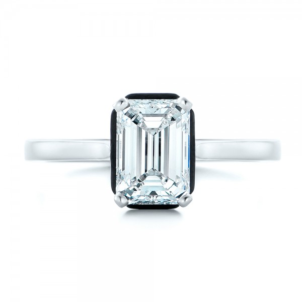 Custom Emerald Cut Diamond and Black Ceramic Engagement Ring