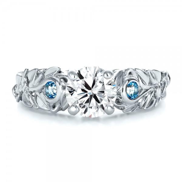 Custom Organic Diamond And Blue Topaz Engagement Ring 100600