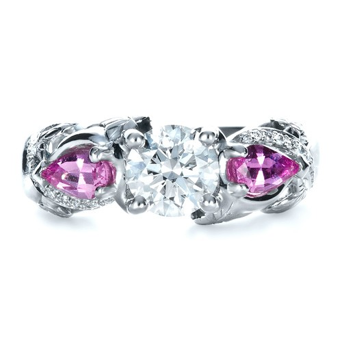 custom pink sapphire and engagement ring 1431