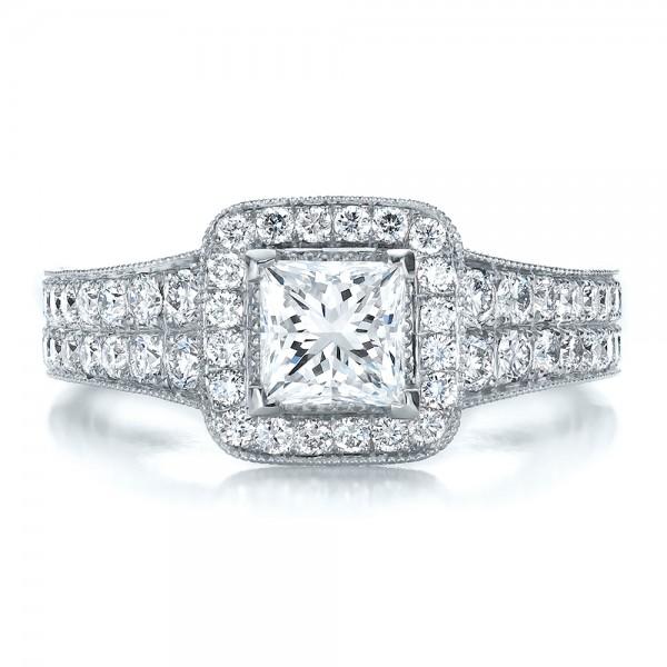 Custom Princess Cut Diamond Halo Engagement Ring