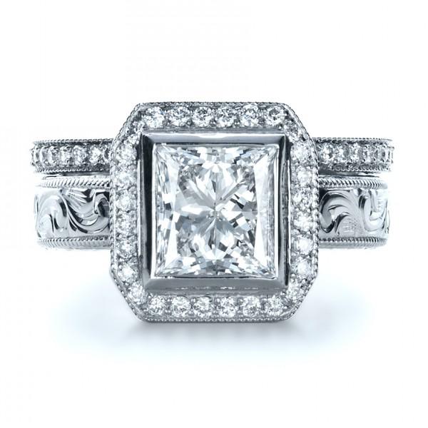 Boston Engagement Rings Custom Jewelry: Custom Princess Cut Halo Engagement Ring #1209