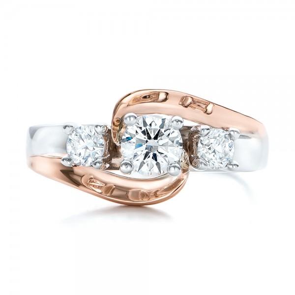 Custom Two Tone Diamond Engagement Ring