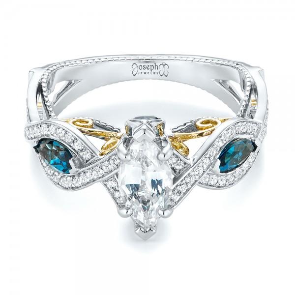 custom two tone blue topaz and white sapphire
