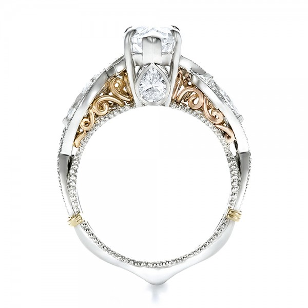 Custom Two Tone and Marquise Diamond Engagement Ring