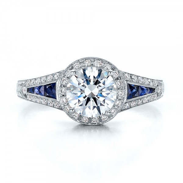Diamond Halo and Blue Sapphire Engagement Ring