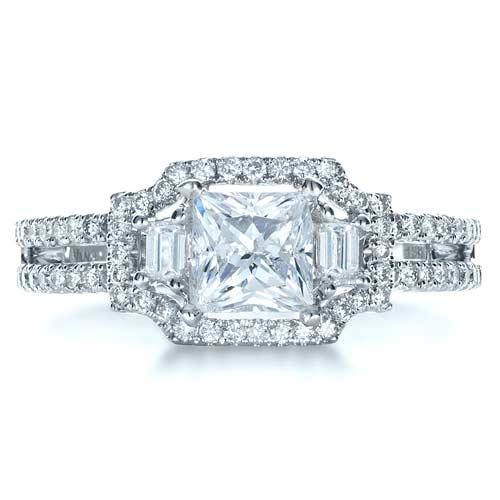 Princess Cut Halo Diamond Engagement Ring Vanna K 1313