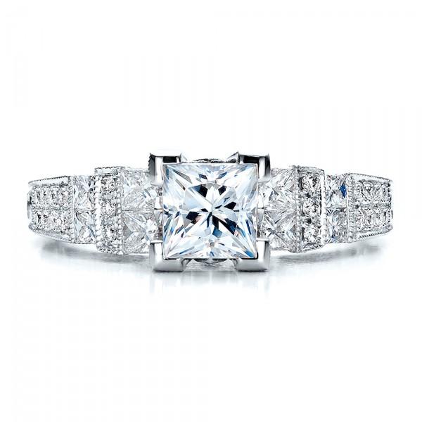 princess cut side stones engagement ring vanna k 100057