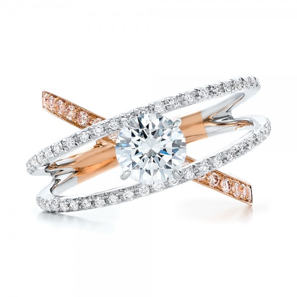 three band pink and white engagement ring 101954