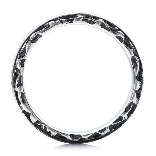 Men s Black And White Sterling Silver Band