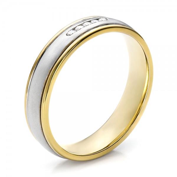 Women39s two tone gold and diamond wedding band 100156 for Two tone wedding rings for women